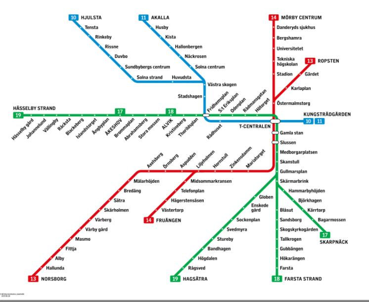ストックホルム地下鉄路線図