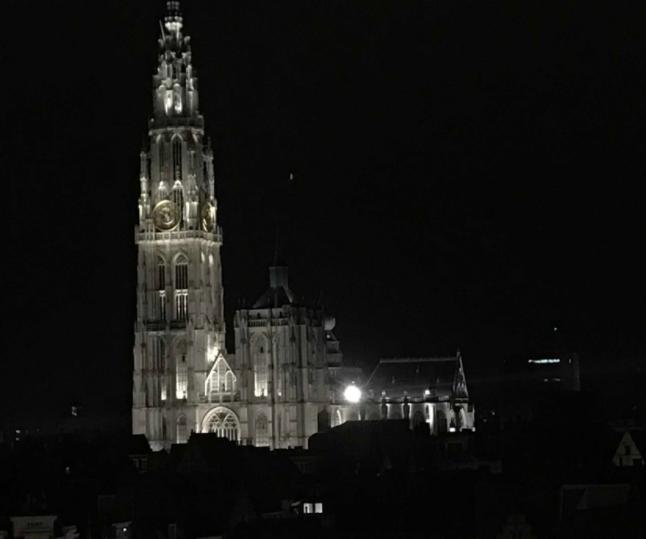 ベルギーアントワープの夜のノートルダム大聖堂