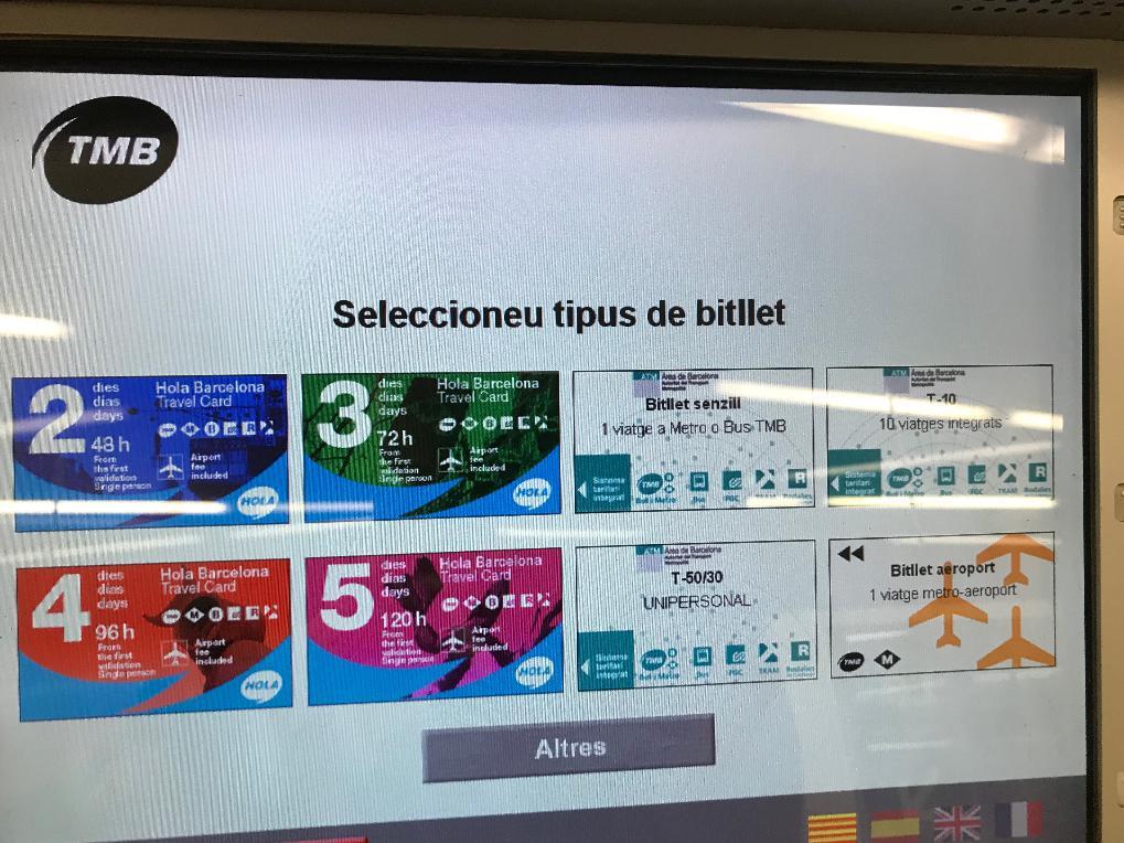 バルセロナ地下鉄の券売機