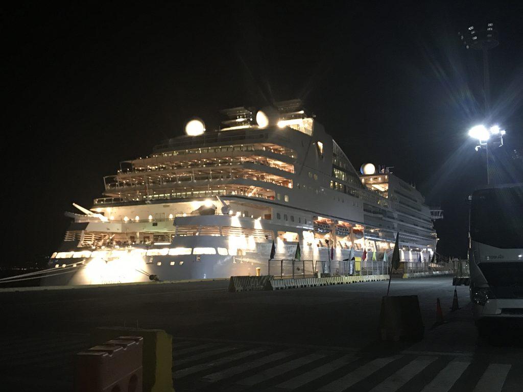 フィリインマニラ港に停泊する豪華客船