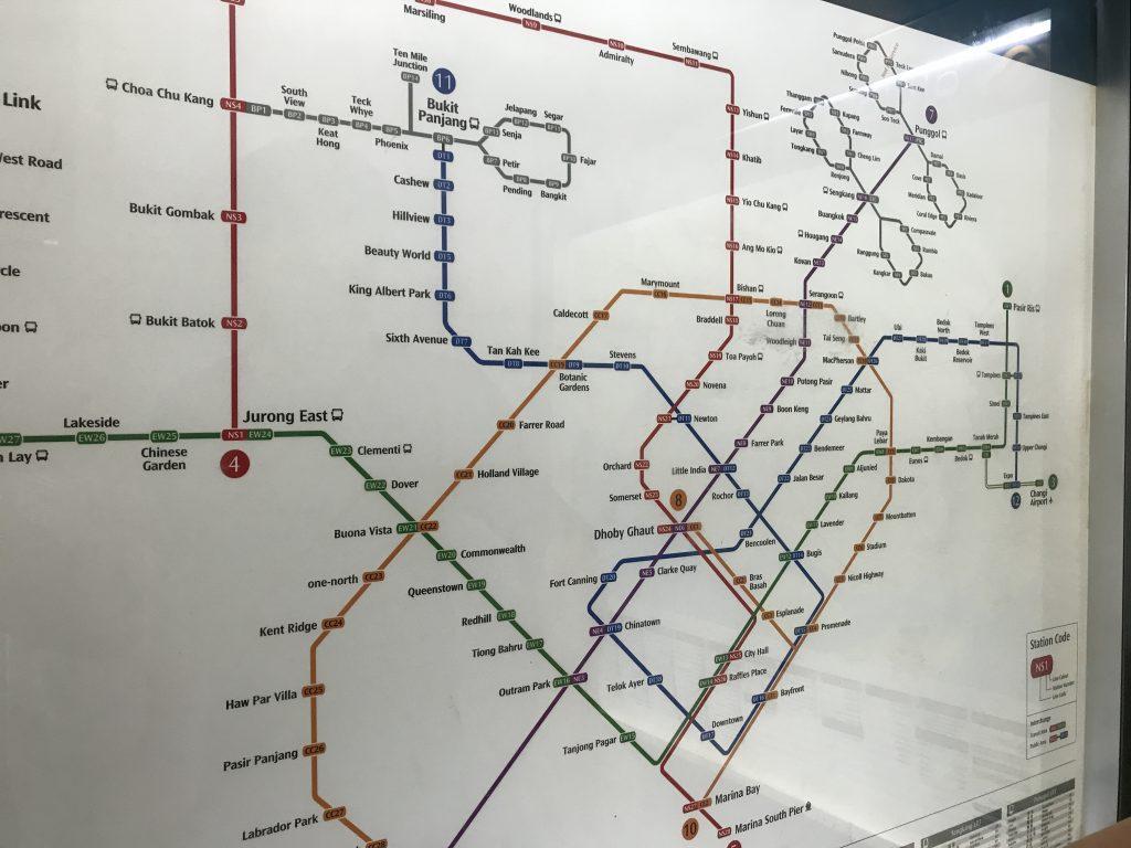 シンガポールMRTの路線図