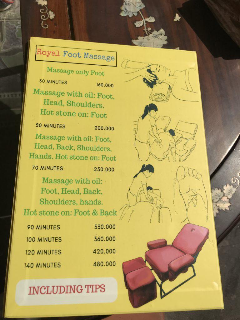 ホーチミンのおすすめマッサージ Royal foot massage