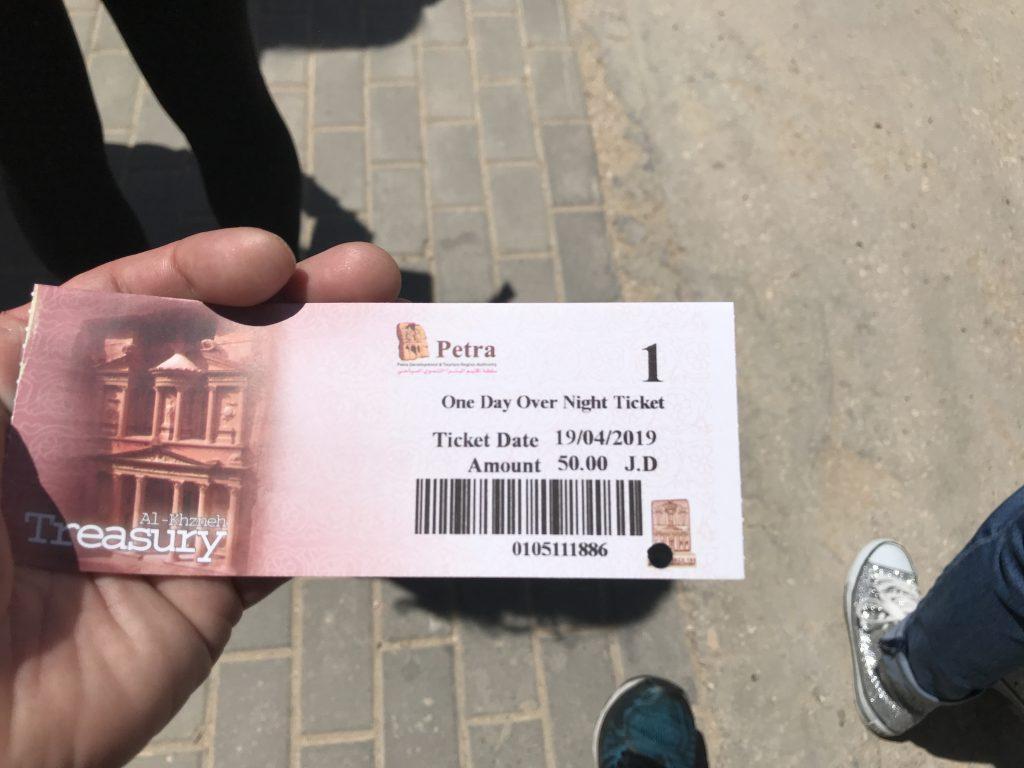 ヨルダンペトラ遺跡のチケット
