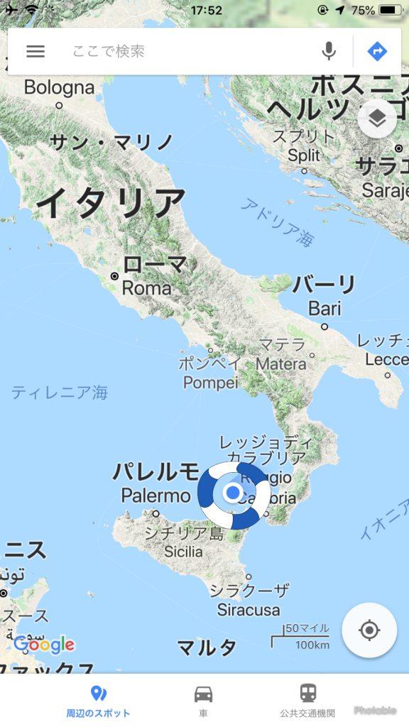 イタリアのシチリア島の場所と、リパリの場所