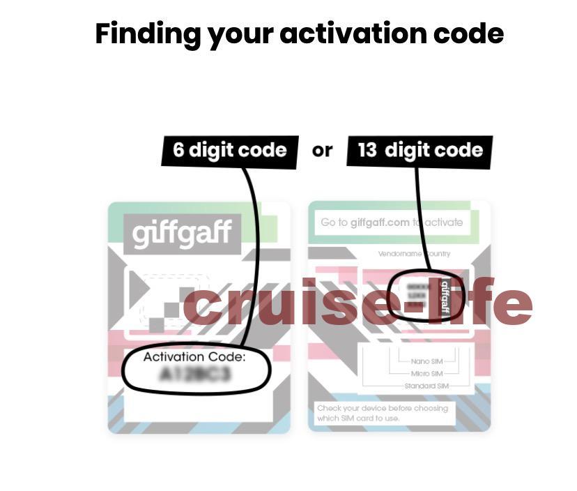 giffgaffのアクティベーションコードはどこ?